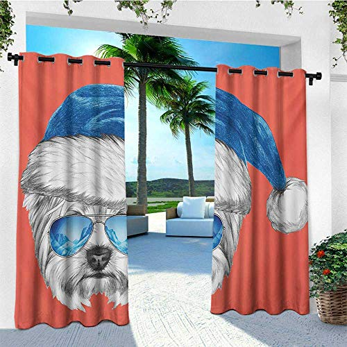 leinuoyi Yorkie, Outdoor Curtain Extra Wide, Terrier with a Blue Santa Hat and Mirror Aviator Glasses Fun Hand Drawn Animal, Outdoor Patio Curtains W120 x L96 Inch Coral White Blue ()
