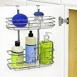 Cabinet Door Organizers Lynk Over Cabinet Door Organizer – Double Shelf – w/Molded Tray – Chrome cabinet door organizers