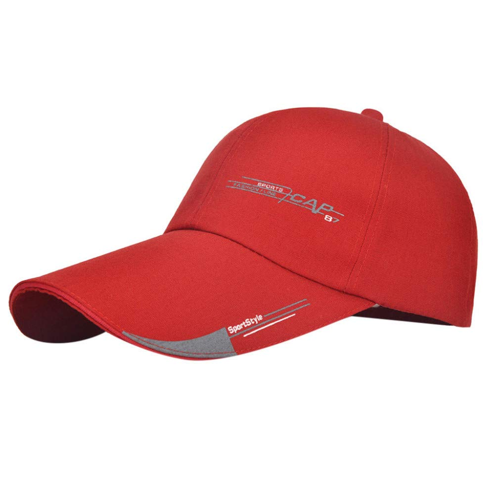 Red Adjustable MKJNBH Solid color Baseball Cap Men's Women's Simple Outdoor Cotton Printing Fashion Casual Sports