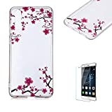 Funyye Crystal Transparent Case for Huawei P20 Pro,Stylish Ultra Thin Clear Soft Flexible Silicone Gel TPU Case,Anti-scratch Rubber Durable Shell Smart Phone Case Free Screen Protector for Huawei P20 Pro,Plum Blossom