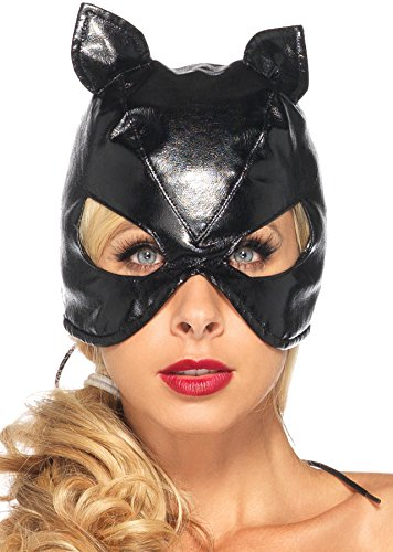 Cool Costume Party Themes (UHC Women's Faux Leather Cat Mask Theme Party Halloween Costume Accessory)