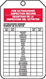 Accuform Signs SBTRS217CTP Spanish Bilingual Fire Extinguisher Tag, Legend ''FIRE EXTINGUISHER INSPECTION RECORD/ REGISTRAR DE LA INSPECCION DEL EXTINTOR'', 5.75'' Length x 3.25'' Width x 0.010'' Thickness, PF-Cardstock, Red/ Black on White (Pack of 25)