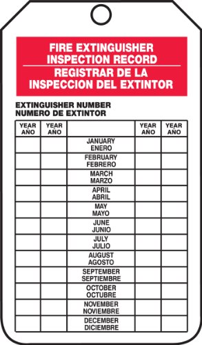 """Price comparison product image Accuform Signs SBTRS217CTP Spanish Bilingual Fire Extinguisher Tag,  Legend """"FIRE EXTINGUISHER INSPECTION RECORD / REGISTRAR DE LA INSPECCION DEL EXTINTOR"""",  5.75"""" Length x 3.25"""" Width x 0.010"""" Thickness,  PF-Cardstock,  Red / Black on White (Pack of 25)"""