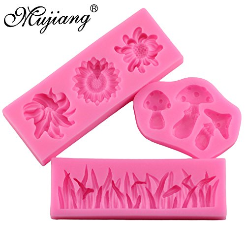 Star Trade Inc - Grass Flower Mushroom Cake Silicone Mold Party Cupcake Fondant Cake Decorating Tools Chocolate Candy Fimo Clay Molds (1 SET) ()
