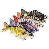 Juemenzhe Fishing Bass Lures Multi Jointed Topwater Life-Like Trout Swimbait Hard CrankBaits 5Pcs
