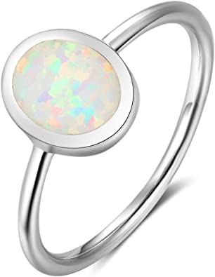 Oval stone Handmade Engagement Ring Cocktail White opal ring White opal Gemstone silver ring 925 Sterling silver ring christmas gift