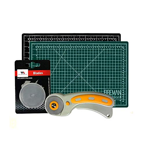 Rotary Cutter & Self Healing Mat Set - Professional Double Sided Cutting Mat with Rotary Plus 5 Replacement Blades Making The Ultimate Arts & Crafts Kit for Sewing Quilting & Much More (12x18) ()
