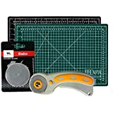Rotary Cutter & Self Healing Mat Set – Professional 12x18 Double Sided Cutting Mat with Rotary Plus 5 Replacement Blades Making The Ultimate Arts & Crafts Kit for Sewing Quilting & Much More