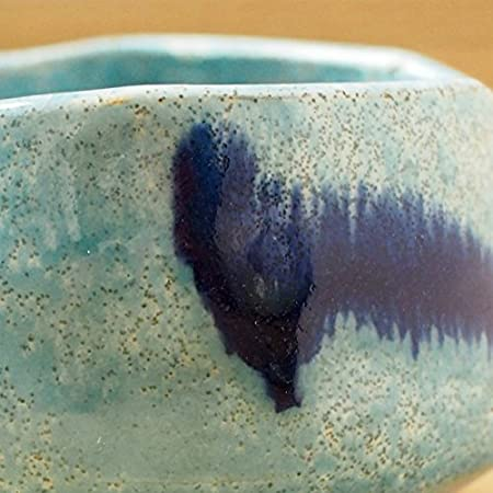 Matcha bowl 4.65 dia Japanese tea cup for tea ceremony Authentic Mino Ware Pottery Sirohake Navy Chawan M59122 from Japan