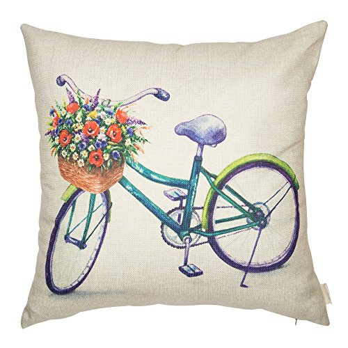 Fjfz Cotton Linen Home Decorative Bike Throw Pillow Case Cushion Cover for Sofa Couch Watercolor Retro Bicycle and Vintage Flowers, Purple, 18 x 18