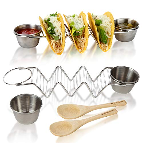 (Rustproof Taco Holder Stand - Safe For Kids - Ideal Choice for Taco Tuesday, Friends and Family Gathering - Microwave Oven and Dishwasher Safe - Comes with 4 Salsa Cups and 2 Bamboo Spoon)