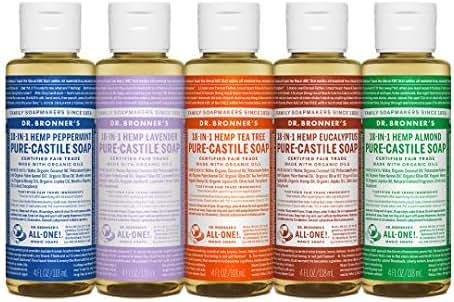 Dr. Bronner's 4 Ounce Sampler- 5 Piece Gift Set. 5, 4 Ounce Castile Liquid Soaps in Almond, Eucalyptus, Tea Tree, Lavender, and Peppermint