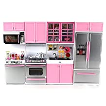"'Deluxe Modern Kitchen' Battery Operated Toy Kitchen Playset, Perfect for Use with 11.5"" Tall Dolls by Doll Playsets"