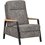 Rivet Stewart Modern Industrial Recliner with Metal and Oak