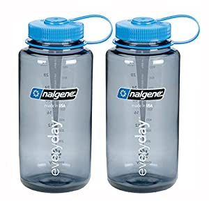 Nalgene Wide Mouth Water Bottle 32oz, Grey Bottle with Light Blue Cap, Set of 2
