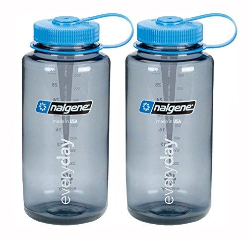 Nalgene Wide Mouth Water Bottle 32oz, Grey Bottle with Light Blue Cap, Set of 2