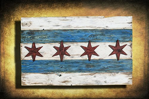 Handmade, Distressed Wooden Chicago Flag, vintage, art, distressed, weathered, recycled, Chicago flag art, home decor, Wall art, recycled by Chris Knight Creations