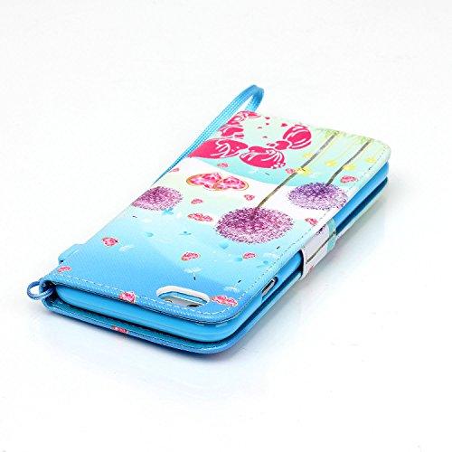 """Etsue Lederhülle Tasche für iPhone 6 Plus/6S Plus 5.5"""" Handytasche Handyhülle Flip Cover, Lanyard/Strap Elegant Retro [lila Löwenzahn,Liebhaber] Muster Kunstleder Case Etui Flip Hülle Brieftasche Tele"""