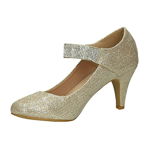 King Of Shoes Women's Ankle-Strap Gold HPuV7vt36