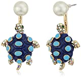 """Betsey Johnson """"The Sea"""" Pearl and Turtle Earrings Jackets"""