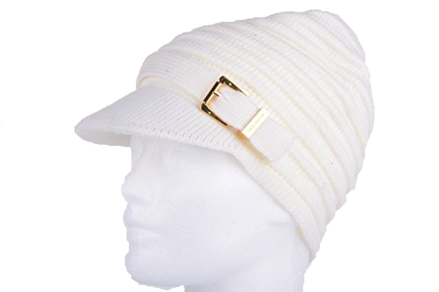 Michael Michael Kors Ivory Cable Knit Newsboy Hat Gold Buckle