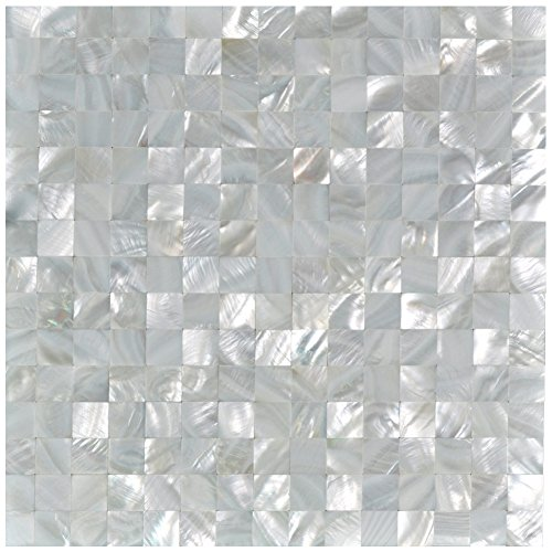Art3d Mother of Pearl Oyster White Mini Square Mosaic Tiles Seamless Splice 10 Sq Ft Pack of 10 by Art3d