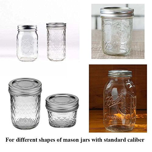 6 Pack Mason Jar Lights 10 LED Solar Warm White Fairy String Lights Lids Insert for Patio Yard Garden Party Wedding Christmas Decorative Lighting Fit for Regular Mouth Jars(Jars Not Included) by Decem (Image #2)