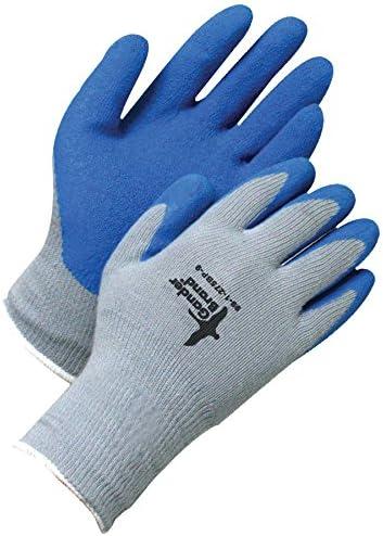 Bob Dale Gloves 991275BP6 Seamless Knit Grey Poly-Cotton Blue Crinkle Latex Palm,