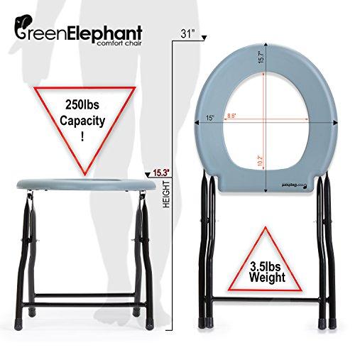 Green Elephant Folding Commode Portable Toilet Seat