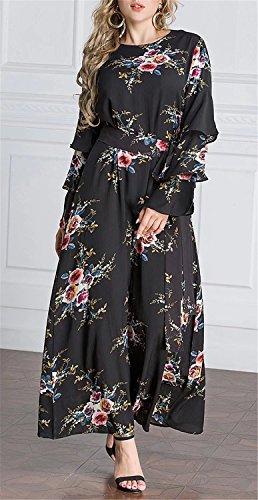Imprimé Floral Robe Maxi Musulman De Noir Femmes Betusline
