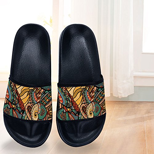 Pattern Quick Black Non Drying Slippers Slippers Vintage for Womens Bohemia Slip Slippers 4xwnAxE