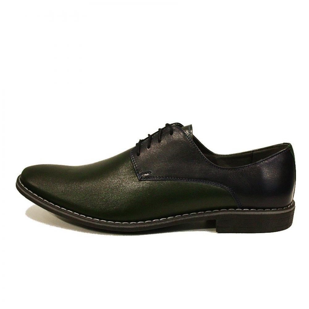 Modello Taddeo - - - Handgemachtes Italienisch Leder Herren Grün Oxfords Abendschuhe Schnürhalbschuhe - Rindsleder Weiches Leder - Schnüren 01cfda