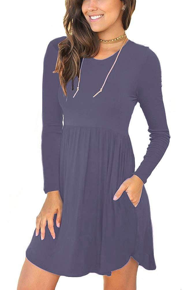 02 Purple Grey Neineiwu Women's Long Sleeve Loose Plain Dresses Casual Short Dress with Pockets