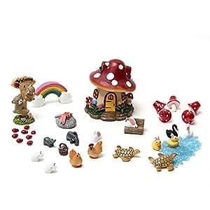 Tonsiki 33 Pieces Miniature Garden Accessories Fairy Garden Ornament Kit for DIY Dollhouse,Succulent,Plant Decoration