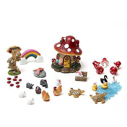 33 Pcs Tonsiki Miniature Fairy Garden Ornament DIY Dollhouse Kit