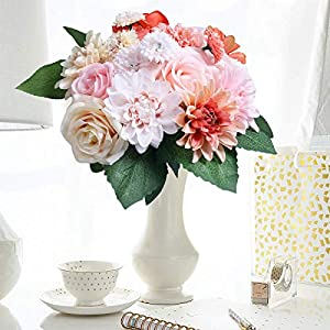 HEBE Artificial Flowers Sunflower Bouquet Set of 8 pcs Artificial Plant for Home Decor 32