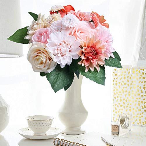 HEBE 2 Pack Artificial Flowers Bouquets Silk Rose Dahlia Daisy Flower Stems Arrangement Bridal Wedding Bouquets for Home Garden Party Office Décor ()