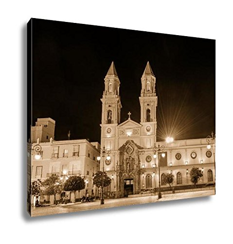 Ashley Canvas San Antonio Church At San Antonio Square In Cadiz Spain Andalusia, Wall Art Home Decor, Ready to Hang, Sepia, 16x20, AG6515407 by Ashley Canvas