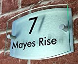 ThedisplayDeal Modern House Numbers, 8''x5''x1'' Curved Glass Acrylic front/Brushed Aluminum Background Double Panel Sign Plaque Door Number (Curved Green Acrylic)