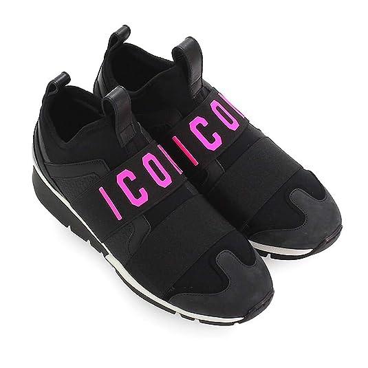 Dsquared2 Chaussures Femme Baskets Icon Néoprène Noir Fuchsia  Amazon.fr   Chaussures et Sacs 7b861800ce7d
