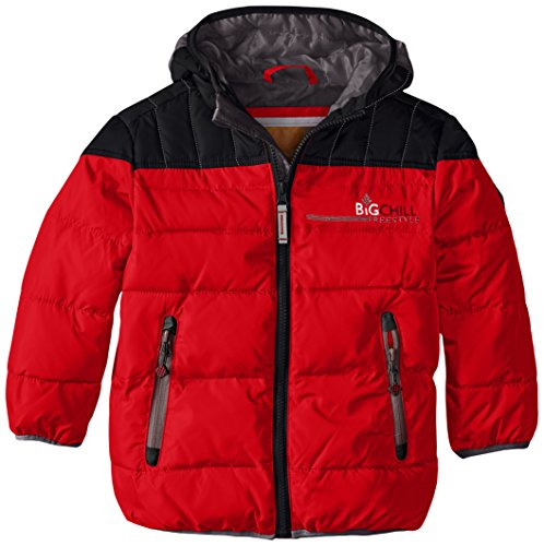 Big Chill Boys' Little Puffer Jacket with Down Fill, True Red, 7