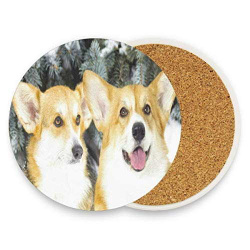 Corgi Dogs Coasters, Prevent Furniture From Dirty And Scratched, Round Cork Coasters Set Suitable For Kinds Of Mugs And Cups, Living Room Decorations Gift Set Of 4 (Top Pad Liner Booster)