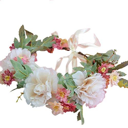 Vivivalue Boho Flower Crown Flower Garland Headband Hair Wreath Floral Headpiece Halo with Ribbon Wedding Party Festival Photos Beige