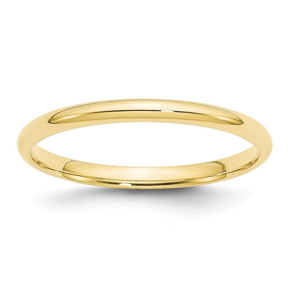 Solid 10k Yellow Gold 2mm Comfort Fit Wedding Band Size 4
