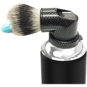 Legacy Shave - Evolution Brush - Universal Shaving Brush Engineered to Attach Directly to Shaving Cream or Shaving Gel Cans - Best Razor Wet Shave Brush for Men & Women - Carbon Fiber