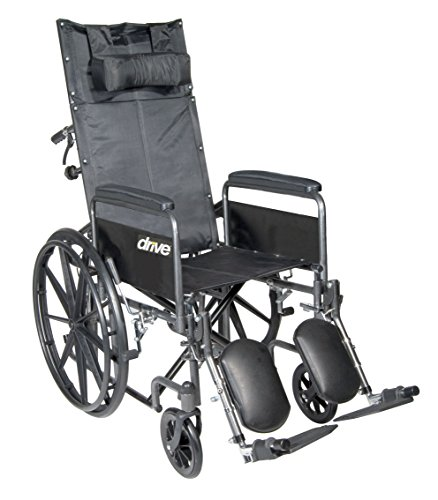 Chairs Medical Reclining - Drive Medical SSP16RBDFA Silver Sport Reclining Wheelchair with Elevating Leg Rests