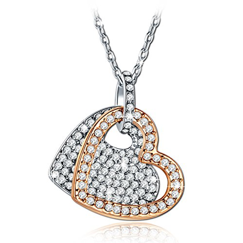 """Always Be with you"" Engraved Dual Heart Pendant Necklace Version:SWAROVSKI/PRECIOSA/Sterling Silver"