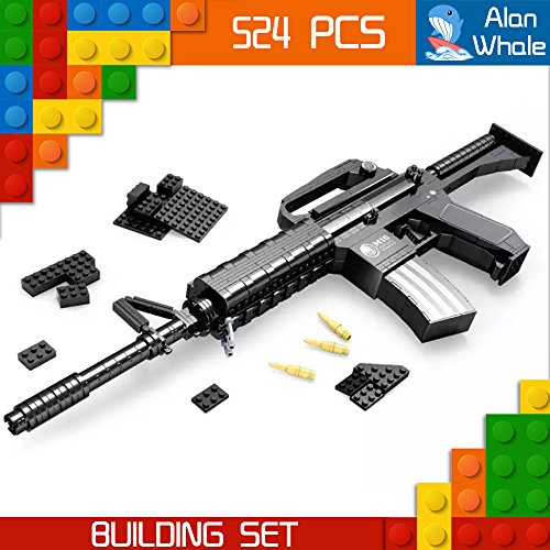 AlanWhale Army Model M16 Assault Rifle Toy Gun Building Kit (M16 Bullet)
