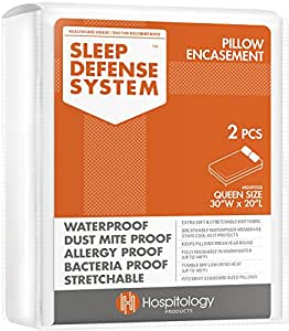 HOSPITOLOGY PRODUCTS The Original Sleep Defense System - Waterproof/Bed Bug/Dust Mite Proof - PREMIUM Zippered Pillow Encasement & Hypoallergenic Protector, Set of 2, 20-Inch by 30-Inch, Queen