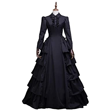 f07af5a317 Amazon.com  Medieval Renaissance Fairytale Vampire Brocade Dress Masquerade  Gown Theater Cosplay Halloween Costume  Clothing